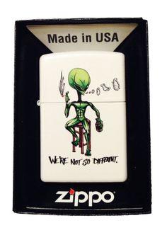 "Zippo Custom Lighter - ""We're Not So Different"" Alien Smoking & Drinking"