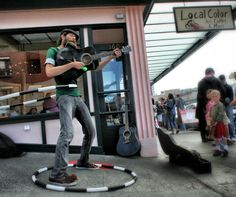 A busker at Pike Place Market in Seattle.