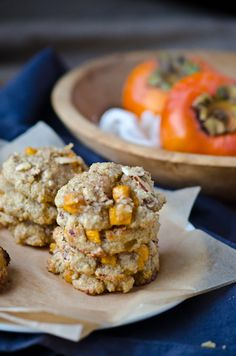 Persimmon Almond Cookies - replace sugar with stevia, use 2 egg whites, and use Earth Balance butter