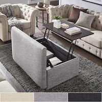 Landen Lift Top Upholstered Storage Ottoman Coffee Table by iNSPIRE Q Artisan