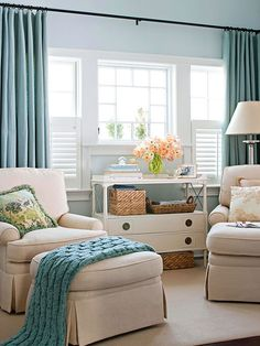 Pastel drapes are a great way to match with other accents in your living room. Contact Sonata Design to find out more today.