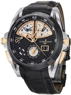 Ulysse Nardin Sonata Streamline Black Dial Mens Watch - Titanium case with a black alligator leather strap. Fixed black ceramic bezel. Black dial with skeleton hands and index hour markers. Minute markers around the outer rim. Dial Type: Analog. Luminescent hands and markers. Date display at the 4 o'clock position.   Three sub-dials displaying: 24...