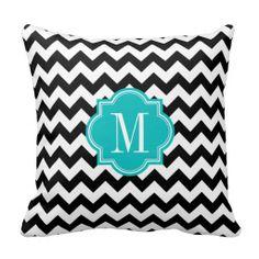 Black and White Chevron with Teal Monogram Throw Pillows #pillow #throwpillow #homedecor