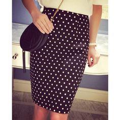 Stylish High Waist Polka Dot Slit Skirt For Women (295 NIO) ❤ liked on Polyvore featuring skirts, black, black high waisted skirt, slit skirt, high waisted skirts, black polka dot skirt and black slit skirt
