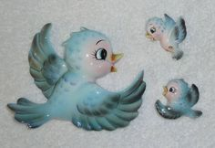 Vintage Lefton Bluebird Wall Plaques 3 Mom Babies Blue by crazy4me, $250.00