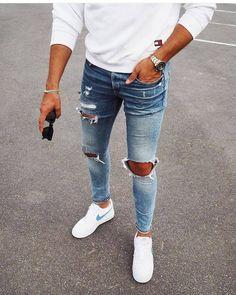 Fashion 2019 New Moda Style - fashion Modern Men Street Style, Modern Man, Street Styles, Mens Style Guide, Men Style Tips, Stylish Men, Men Casual, Casual Outfits, White Shoes Outfit
