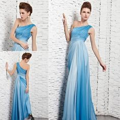 Elegant long evening dresses beaded one shoulder light blue prom dress