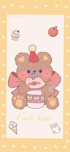 Cake Wallpaper, Kawaii Wallpaper, Animal Wallpaper, Wallpaper Iphone Cute, Phone Wallpapers, Love Bear, Kawaii Art, Cute Bears, Cute Cartoon Wallpapers