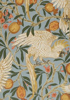 Walter Crane, Cackatoo and Pomegranate, Colour woodblock print on paper, Victoria & Albert Museum, London Walter Crane, Motifs Textiles, Textile Patterns, Print Patterns, Fabric Wallpaper, Of Wallpaper, Pattern Wallpaper, Wallpaper Designs, Surface Pattern Design