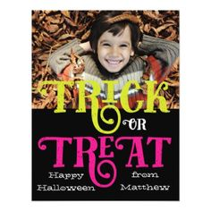 #Trick or Treat Halloween Photo Card - #halloween #invitation #cards #party #parties #invitations #card