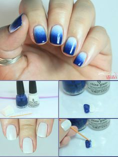 Manicure Monday: Blue ombre nail tutorial via blog.lulus.com
