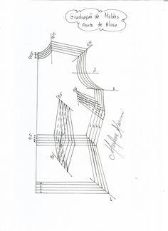 Graduação de molde da frente de uma blusa ou vestido.