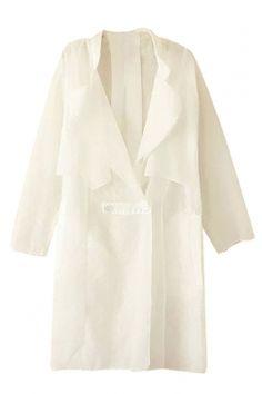 #White Plus Size #Slim Long Sleeve #Plain #Chiffon Ladies #Trench #Coat