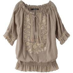花柄×シフォン素材でガーリーモード★花柄ボーダーキュロット ❤ liked on Polyvore featuring tops, blouses, shirts, camisas, brown tops, brown shirts, brown blouse, shirt tops and shirt blouse