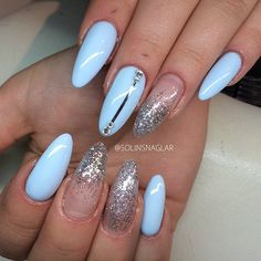 Baby Blue almond nails with glitter, solinsnaglar nails... Replace the blue w/a neutral polish!