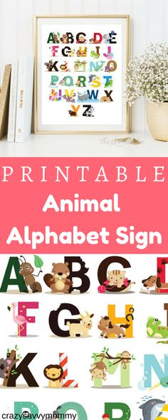 ONLY $5.35. PRINTABLE Animal  Alphabet Sign.  SUPER CUTE nursery or playroom decor. This sign could also be great for the classroom! Click the link to get it NOW at Etsy.com! #babynursery #littlegirlsroom #babystuff #diyhomedecor #ad #babyboy #homedecorideas
