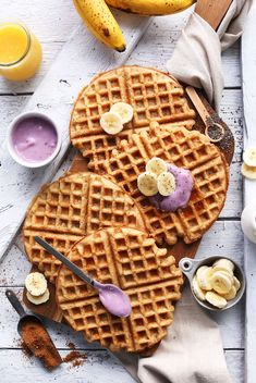 Say Good Morning To Your Body Eat Breakfast . COCONUT YOGURT WAFFLES Simple vegan gluten-free yogurt waffles that are crisp on the outside and tender on the inside. {Dairy-free Vegan…More Waffle Recipes, Brunch Recipes, Breakfast Recipes, Eat Breakfast, Breakfast Waffles, Banana Breakfast, Baker Recipes, Vegan Recipes, Delicious Recipes