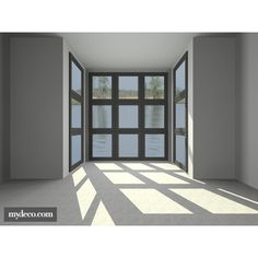 Room with a view 8 - 3D design by terri0181 ❤ liked on Polyvore featuring rooms, empty rooms, backgrounds, interior and home