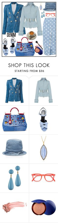 """Yes, denim"" by kleinwillwin ❤ liked on Polyvore featuring Balmain, Marques'Almeida, Dolce&Gabbana, Yves Saint Laurent, Maison Michel, Alexandra Alberta, Kenneth Jay Lane, Elizabeth Arden, Guerlain and MAC Cosmetics"