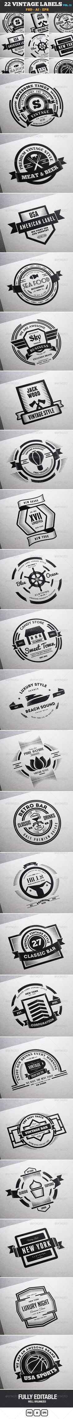22 Vintage Labels & Badges / Logos / Insignias Template | Buy and Download: http://graphicriver.net/item/22-vintage-labels-badges-logos-insignias-v11/7533985?WT.ac=category_thumb&WT.z_author=designdistrictmx&ref=ksioks