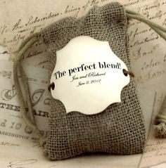 20 Burlap Wedding Favor Bags - The perfect blend - Personalized. $36.00, via Etsy.