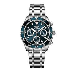 •$770 •43mm •The Legacy Ocean Chronograph Bracelet Watch from Rotary keeps track of time in style. With 3 subdials boasting chronograph features, this stainless steel watch is the perfect men's accessory to pair with a suit for a polished and dapper look.