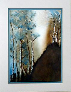 Watercolor landscape forest