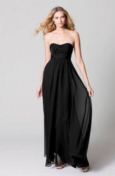 Black Strapless Bridesmaid Dress
