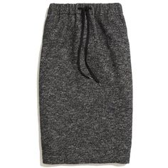 """A sporty-cool drawstring waist. A lean, stretchy shape. A just-below-the-knee length. Perfect. Midlength pencil. 26"""" long. Cotton/wool/nylon. Dry clean. Import."""