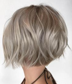 Choppy Rounded Ash Blonde Bob