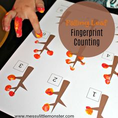An Autumn/ Fall tree fingerprint counting activity for kids. Download our free falling leaf printable to help preschoolers work on counting skills and number recognition.