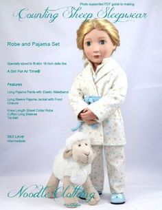 A Girl For All Time®️️ Doll Clothes Pattern, Counting Sheep Pajama and Robe PDF pattern for 16 inch dolls