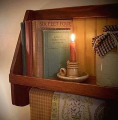 Primitive Cubby Cook Book Towel Shelf / Kitchen / by Sawdusty, $50.00