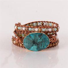 Latest 2018 - Leather Wrap Beaded Bracelet Huge OceanStone Bracelet, Boho Chic Jewelry, Bohemian Bracelet Valentine's Gift I www. Bracelets Wrap En Cuir, Bracelet Wrap, Beaded Wrap Bracelets, Bracelet Cuir, Bohemian Bracelets, Unique Bracelets, Bohemian Jewelry, Bracelets For Men, Handmade Bracelets