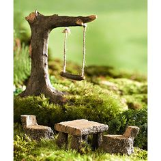 Plow & Hearth Miniature Fairy Garden Swing & Picnic Set ($20) ❤ liked on Polyvore featuring home, outdoors, patio furniture, garden patio furniture, outdoor garden furniture, mini garden furniture, miniature garden furniture and garden swing