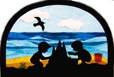 Fensterschmuck - Fensterbild Sommer Kinder Strand Transparentbild - ein Designerstück von Juliane-Buness bei DaWanda