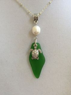 Sea Glass Silver Turtle and Pearl Necklace by joytoyou41 on Etsy