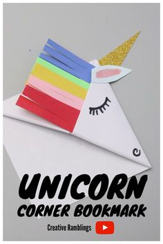 How to make a unicorn corner bookmark. Video on how to fold a corner bookmark. Learn how to make a paper corner bookmark and turn it into a unicorn. Simple paper craft for kids and adults. How to make a unicorn corner bookmark. Video on ho. Bookmarks Kids, Paper Bookmarks, Corner Bookmarks, How To Make Bookmarks, Paper Crafts Origami, Paper Crafts For Kids, Crafts For Teens, Paper Crafting, Simple Paper Crafts
