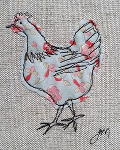 Machine Embroidery Projects Blue chicken - framed freestyle machine embroidery by carlasisters Freehand Machine Embroidery, Free Motion Embroidery, Machine Embroidery Patterns, Hand Embroidery Designs, Free Motion Quilting, Embroidery Art, Applique Patterns, Embroidery Stitches, Machine Applique