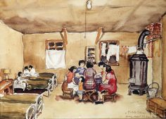 """Estelle Ishigo, a European American, accompanied her Nisei husband to the Heart Mountain Camp in Wyoming, where she painted this scene depicting """"home"""" in one of the Spartan barracks."""