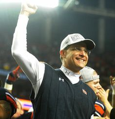 Malzhan celebrates the final Auburn score, an extra point, in Auburn's 59-42 win over Missouri.