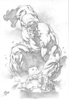 Hulk, in Da Man's Diego Bernard Comic Art Gallery Room Comic Book Characters, Comic Character, Comic Books Art, Comic Art, Dc Comics Art, Marvel Comics, Hulk Artwork, Hulk Sketch, Marvel Drawings