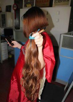 Thick Hair Bob Haircut, Bob Hairstyles For Thick, Long Hair Ponytail, Ponytail Hairstyles, Brunette Hair Cuts, Cut Her Hair, Silky Hair, Long Hair Cuts, Fall Hair