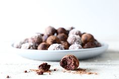These nutty chocolate truffles are rich and decadent, full or raw nutrient goodness, antioxidants, protein and good fats, and sweetened only with rice syrup.