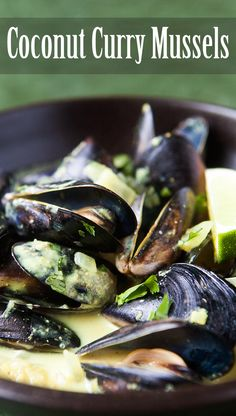 Coconut Curry Mussels ~ Looking for a mussels recipe with Wow factor? Fresh mussels cooked in and served with a spicy coconut curry broth. Shellfish Recipes, Seafood Recipes, Indian Food Recipes, Cooking Recipes, Mussel Recipes, Clam Recipes, Cooking Stuff, Fast Recipes, Turkish Recipes