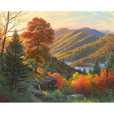 Newfound Memories I (Great Smoky Mountains) / Artist: Mark Keathley I spent the early part of my life near Asheville. Great Smoky Mountains, Autumn Scenes, Autumn Art, Pictures To Paint, Beautiful Landscapes, Landscape Paintings, Deer Paintings, Amazing Art, National Parks