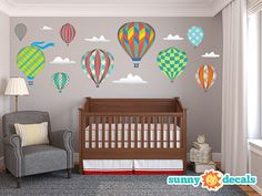 Hot Air Balloons Jumbo Wall Stickers & Wall Decals for Nursery and Kids Rooms by Sunny Decals - Free Shipping on Etsy, $134.99
