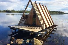 We visit Stedsans In The Woods, Sweden, a forest restaurant with cabins and floating sauna from Stedsans Copenhagen's owners Mette Helbæk + Flemming Hansen Summer Equinox, Summer Solstice, Forest Restaurant, Sauna Lights, Small Houseboats, Lake Floats, Rustic Wooden Table, Best Rooftop Bars, French Style Homes