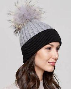 d6fa8476 Kinley Knit Beanie with Finn Raccoon Pom Pom in Grey/Black Fur Hat World,