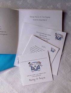 Folded wedding invitation showing Inserts and RSVP cards